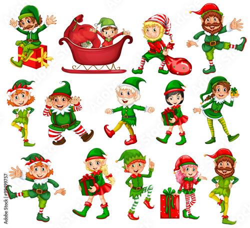 Photo sur Toile Jeunes enfants Christmas elf in different positions