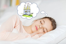 Girl Sleeping In Bed And Dreaming Of Castle
