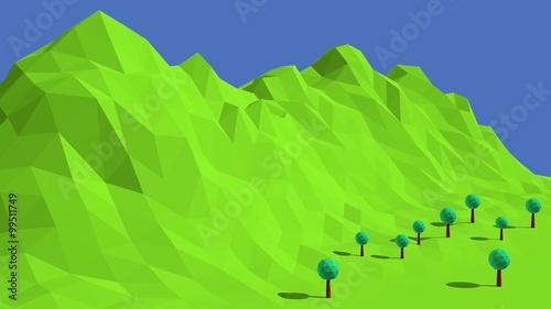 Poster Lime groen Low poly mountains landscape