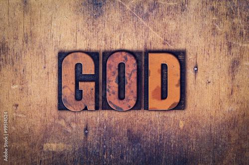 God Concept Wooden Letterpress Type Canvas Print