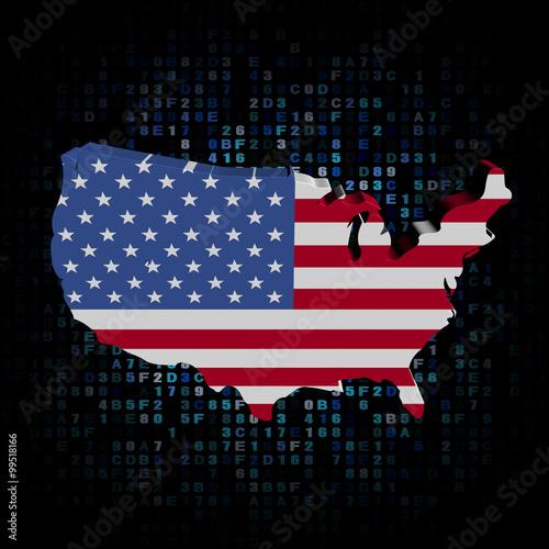 USA map flag on hex code illustration – kaufen Sie diese ...