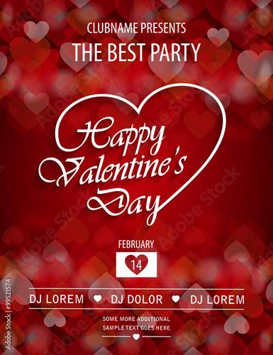 Valentines Day Party Flyer Invitation Vector Illustration Buy