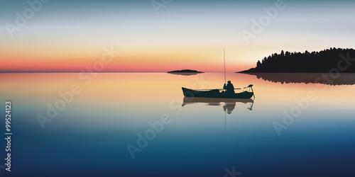 Papiers peints Bleu nuit Paysage Pêcheur-Lac