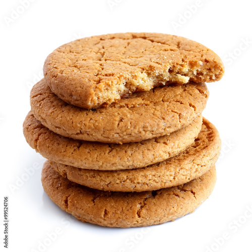 Biscuit Stack of ginger biscuits.