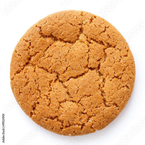 Foto Single round ginger biscuit isolated on white from above.