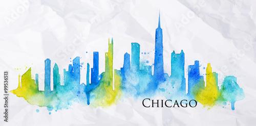 Fotografia  Silhouette watercolor Chicago