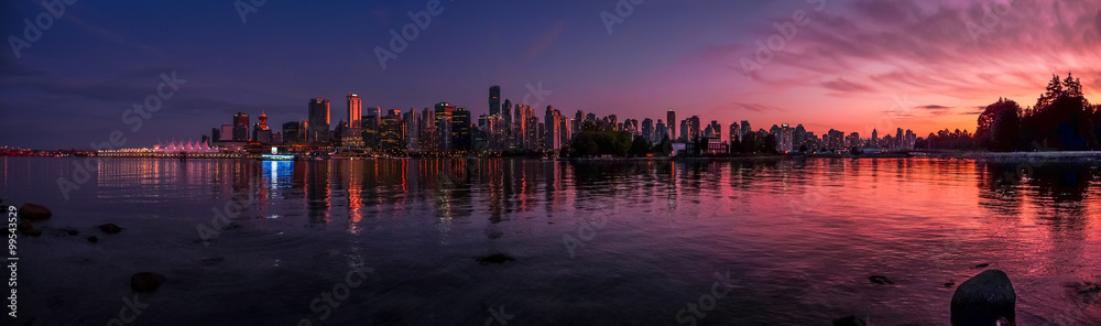 Fototapety, obrazy: Beautiful Vancouver skyline and harbor with idyllic sunset glow, Canada