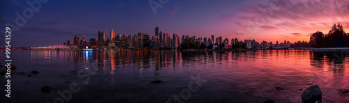 Fototapeta Beautiful Vancouver skyline and harbor with idyllic sunset glow, Canada obraz