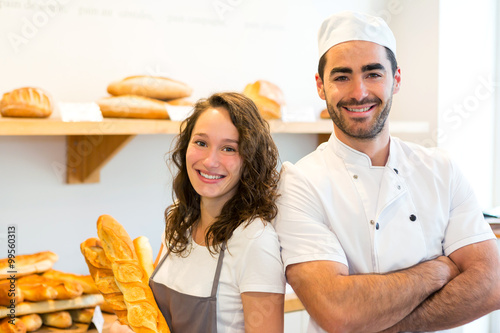 Fotografie, Obraz  Team of bakers working at the bakery