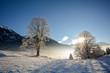 Winterlandschaft mit Blick  zu Hohe Tauern, Gasteinertal bei Bad Gastein, Pongau Alpen - Salzburg Austria Europa