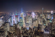New York City, Manhattan, Vogelperspektive bei Nacht