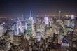 New York City, Manhattan, Vogelperspektive bei Nacht