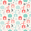 Animal seamless pattern of cat silhouettes.
