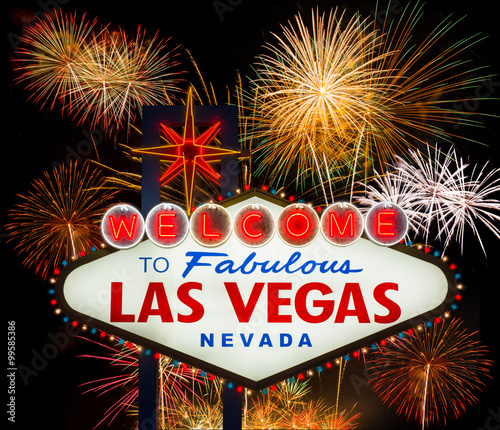 Foto op Aluminium Las Vegas Welcome to Fabulous Las Vegas with colorful firework background
