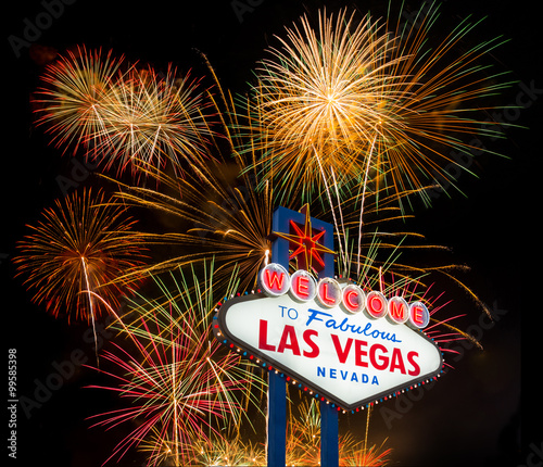 Poster Las Vegas Welcome to Fabulous Las Vegas with colorful firework background