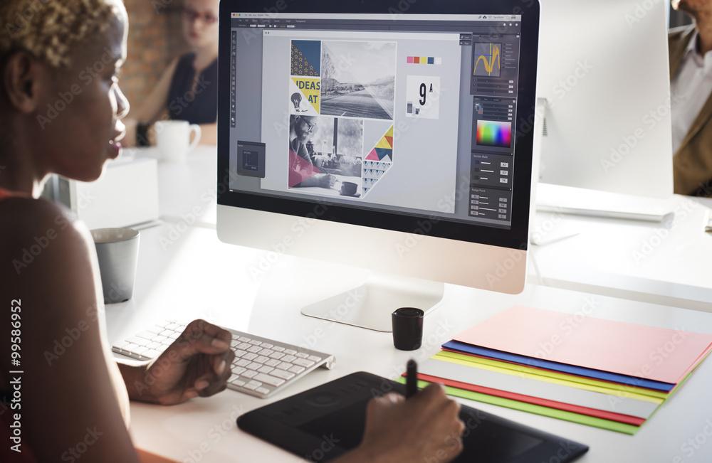 Fototapeta Graphic Designer Creativity Editor Ideas Designer Concept