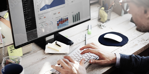Photo  Businessman Working Dashboard Strategy Research Concept
