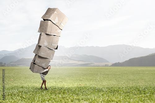 Fotografie, Obraz  Woman carry carton boxes