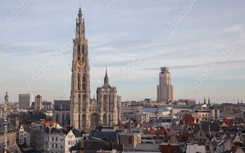 Foto op Plexiglas Antwerpen View over Antwerp with cathedral of our lady