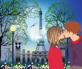 Fototapeta Fototapety Paryż - zakochani w Paryżu,