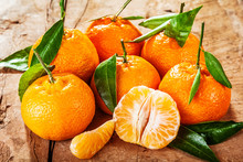 Colorful Fresh Clementine, Mandarin Or Tangerines