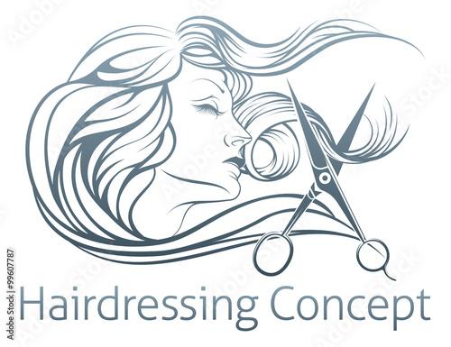 Woman Hairdresser Scissor Concept