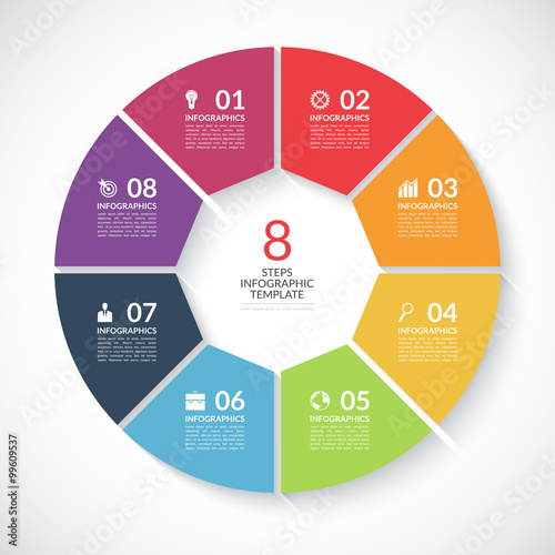 Infographic circle banner. Vector template with 8 steps, parts, options Wall mural