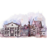 the panoramic view of Warsaw watercolor of european union isolated on the white background - 99615970