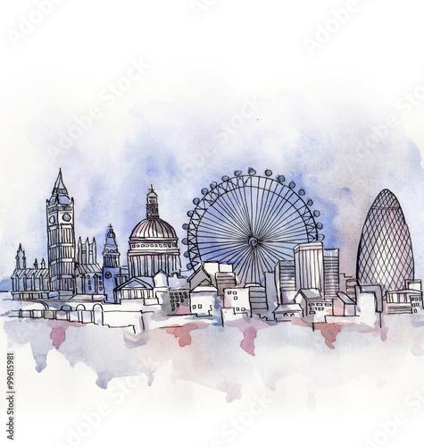 atrakcje-londynu-malowane-akwarela-na-bialym-tle