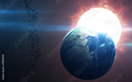 Fototapety, obrazy: High Resolution Planet Earth view. The World Globe from Space in a star field showing the terrain and clouds. Elements of this image are furnished by NASA