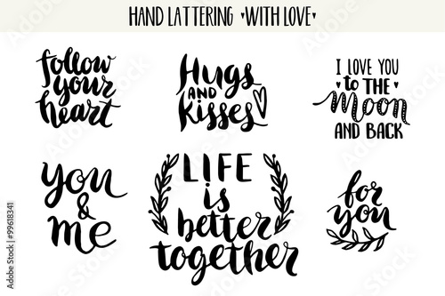 Vászonkép  Quotes. Valentine lettering love collection.