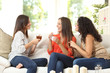 canvas print picture - Three friends talking at home