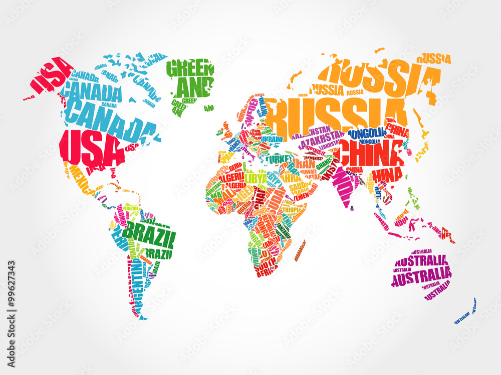 Obraz World Map in Typography word cloud concept, names of countries fototapeta, plakat
