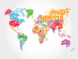 FototapetaWorld Map in Typography word cloud concept, names of countries