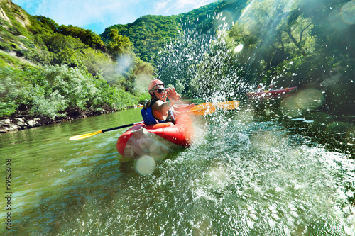Stampa su Tela in river canoe splashes