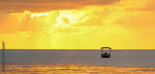Golden ocean sunset with a boat silhouette.