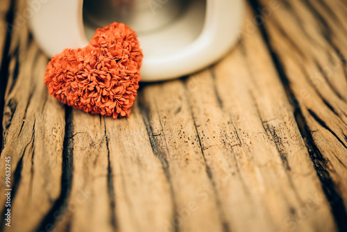 Retro valentine heart on old wood background. Canvas Print