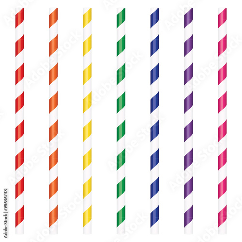 Colorful drinking straws Canvas Print