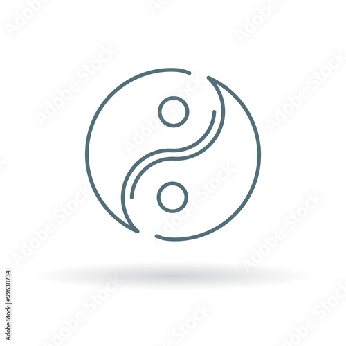Asian Yin Yang Icon Yinyang Sign Yin Yang Symbol Thin Line Icon