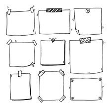 Hand Drawn Doodle Notepaper For Messages Set
