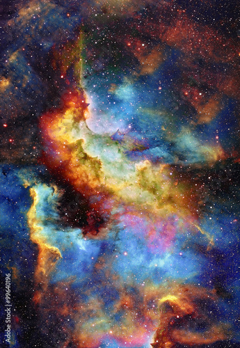 Nebula, Cosmic space and stars, blue cosmic abstract background Poster