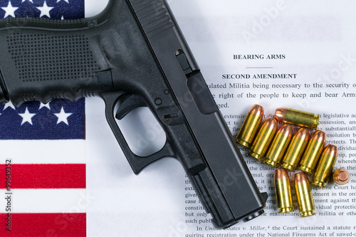 Fotografia, Obraz  Pistol with flag and American paper for right to bear arms