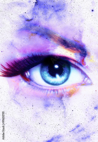 Fototapety, obrazy: Woman Eye and abstract color background, eye contact.