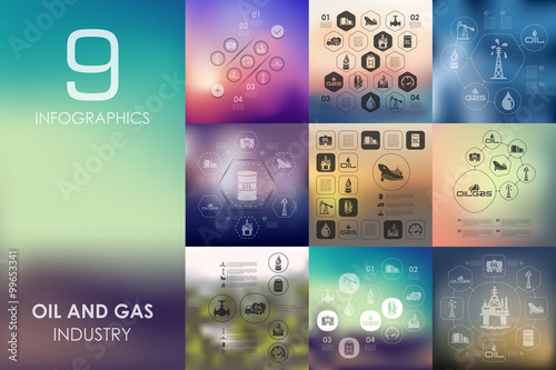 Fotografía  oil and gas infographic with unfocused background