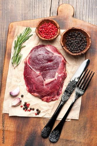 Fotografie, Tablou  Raw steak ribeye, top view
