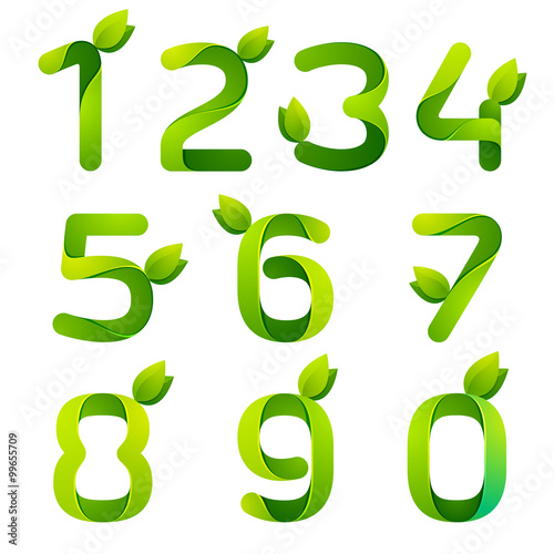 Numbers with green leaves set. Wallpaper Mural