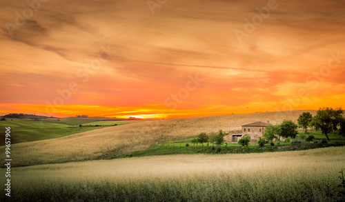 Poster Oranje eclat Tuscan sunset