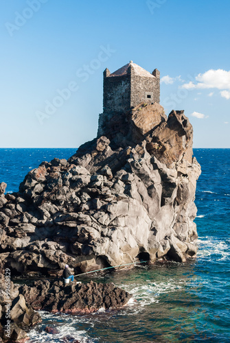 Watchtower on a lava cliff near Acireale Canvas Print