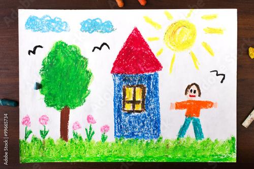 Fototapeta Kolorowy rysunek przedstawiający drzewo, domek i człowieka.  obraz