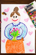 Color drawing: grandmother's day card